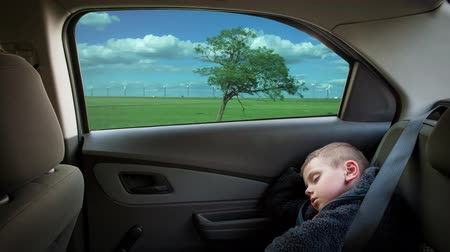 Cute little boy. automotive riding on a high speed. beautiful landscape springtime sunny day footage timelapse. safety belt. wind turbine environmental energy. Wideo