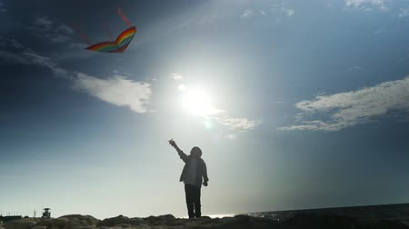 silhouette of little child control flying colorful kites on sea coast,
