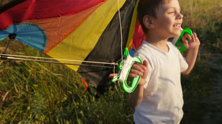 funny little boy with grimace on his face holding handles of color kite behind him at sunset summer