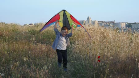happy beautiful little boy running with colorful kite in his hands overhead at sunset summertime