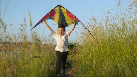 little boy running along a trail in high grass and holds a toy kite over his head. victory concepts