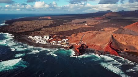 spící : Aerial view of village and volcanic Lake El Golfo, Lanzarote, Canary Islands, Spain