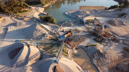 pedreira : Crushed stone quarry machine at sunset view from above