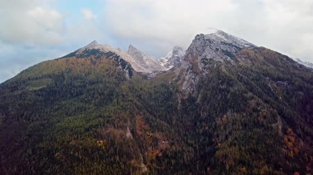 európa : Aerial time lapse near Watzmann and Hochkalter mountains, Ramsau, Berchtesgaden, Germany