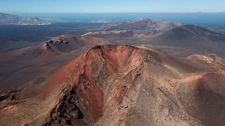 dark island : Flying around volcano near Timanfaya National Park, Lanzarote, Canary islands, Spain