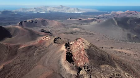 dark island : Aerial view of Volcanic valley near Timanfaya National Park, Lanzarote, Canary islands, Spain