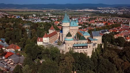 Словакия : Flying around of the famous Bojnice Castle, Slovakia Стоковые видеозаписи