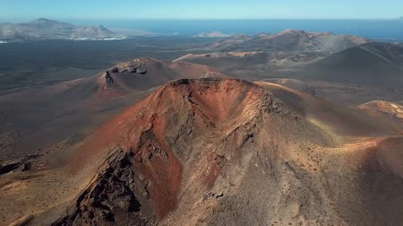 кратер : Aerial view of Volcanic valley near Timanfaya National Park, Lanzarote, Canary islands, Spain
