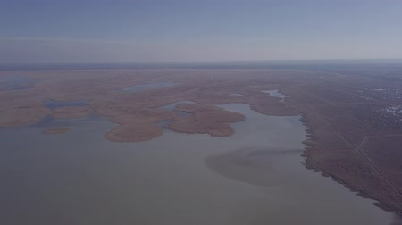 lakeshore : Aerial view of Ferto-Hansag National Park and Ferto (Neusiedl, Neusiedler See) lake. Austria and Hungary border. Original untouched LOG format. Stock Footage