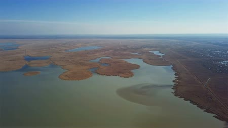 lakeshore : Aerial view of Ferto-Hansag National Park and Ferto (Neusiedl, Neusiedler See) lake. Austria and Hungary border.