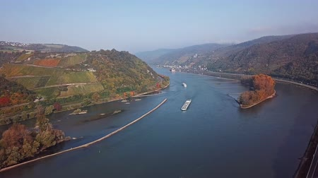 winogrona : Flight over autumn Rhine valley near Bacharach town, Germany Wideo