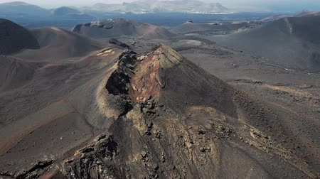 wasteland : Aerial panorama of Volcanic valley near Timanfaya National Park, Lanzarote, Canary islands, Spain