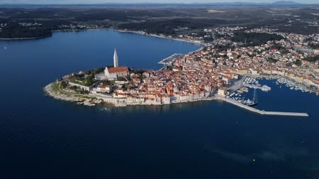 croatia : High up aerial panorama of old town Rovinj, Istria, Croatia.