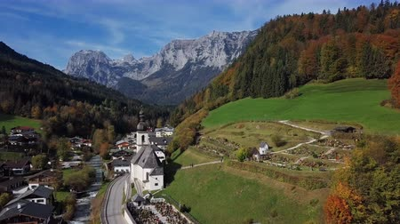 Бавария : Flight around famous Parish church St. Sebastian, in Ramsau, Berchtesgaden, Bavarian Alps, Germany