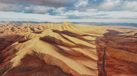 neúrodný : Aerial view of desert landscape at sunset, Fuerteventura island, Spain