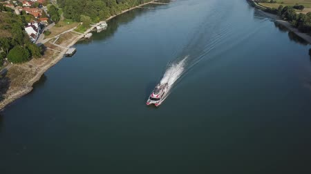 motorbot : Aerial view of speedboat cruising on Danube river, Slovakia