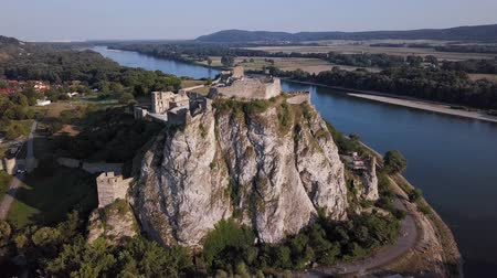 surroundings : Aerial view of Devin castle, near Bratislava, Slovakia Stock Footage