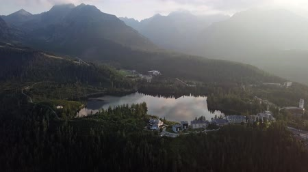 карпатская : Summer morning aerial view of Strbske Pleso resort in High Tatras mountains, Slovakia.