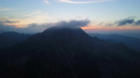 карпатская : Time lapse aerial view of sunset over Gerlachov Peak (Gerlachovsky stit) in High Tatras mountains, Slovakia