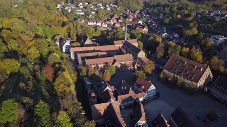 half timbered houses : Flight over Maulbronn old town and vineyards, Baden-Wurttemberg, Germany.