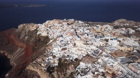 УВР : Flight over of Oia town on Santorini island, Greece