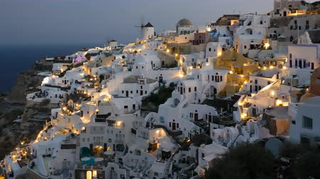 УВР : Night hyper lapse of Oia town, Santorini island, Greece