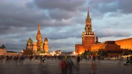 lenin : Night time lapse of Red Square, Kremlin and Saint Basils Cathedral, Moscow, Russia.