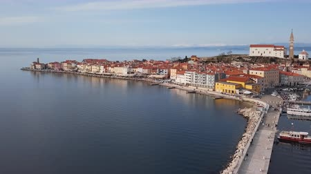 slovenya : Aerial panorama of marina and old town Piran, Slovenia