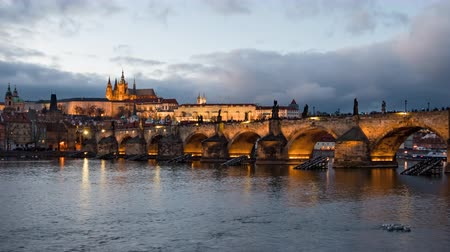 hradcany : Day to night hyper lapse of Prague old town and Charles Bridge, Czech Republic
