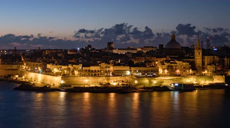dark island : Morning day to night hyperlapse of Valletta old town, Malta