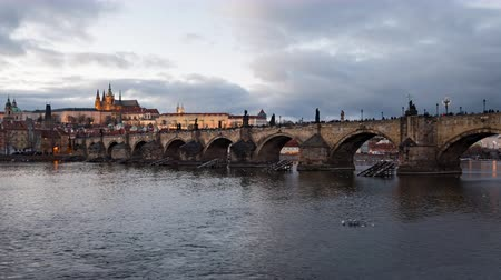 hradcany : Day to night time lapse of Prague old town and Charles Bridge, Czech Republic