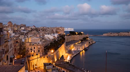 Day to night time lapse of Valletta old town, Malta