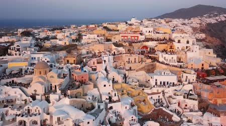 Flight over of Oia town just before sunset, Santorini island, Greece Stok Video