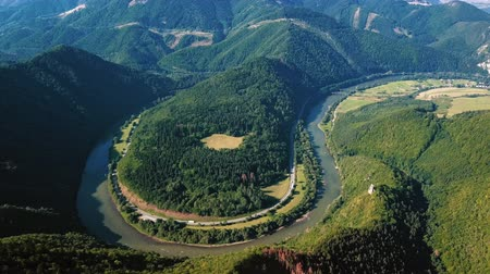 Aerial view of Domasinsky meander river bend on the Vag river, near Zilina, Slovakia