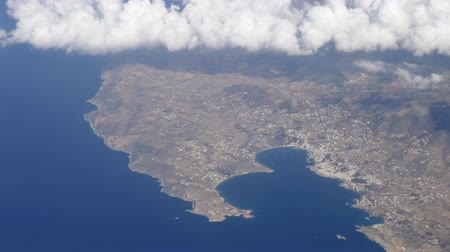 Aerial panorama of Paros island in Aegean Sea, Greece Stok Video