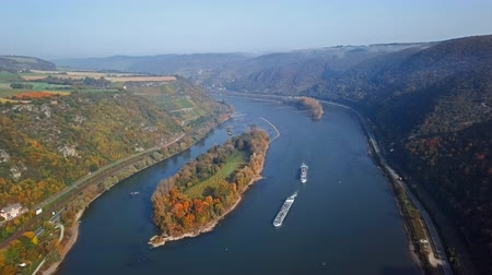 Flight over autumn Rhine valley near Bacharach town, Germany Stok Video