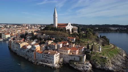 Flight over of old town Rovinj, Istria, Croatia Stok Video