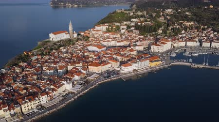Aerial panorama of marina and old town Piran, Slovenia