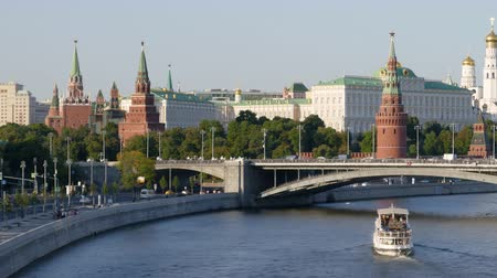 Hyperlapse of Moscow Kremlin and Moskva river with cruise ships, Russia.