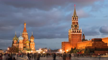 Day to night hyper lapse of Red Square, Kremlin and Saint Basils Cathedral, Moscow, Russia.