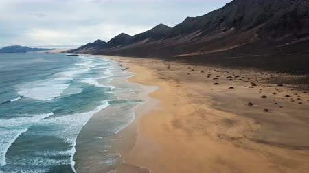 Flight over desert beach Playa de Barlovento, Jandia Peninsula on Fuerteventura, Canary Islands, Spain
