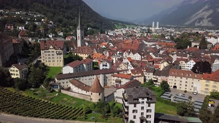 Aerial panorama of Chur (Coire) old town and vineyards, Graubunden, Switzerland.