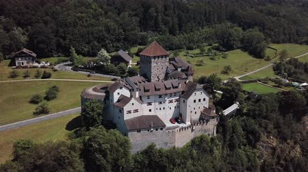 Flight around of Vaduz Castle in Principality of Liechtenstein