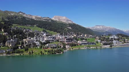 Aerial panorama of St. Moritz (Sankt Moritz), high Alpine resort town in the Engadine, Graubunden, Switzerland.
