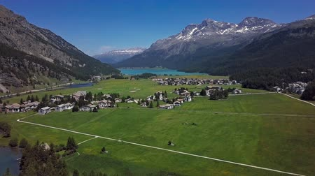 Aerial panorama of Engadin valley and Silvaplana lake, Graubunden, Switzerland.