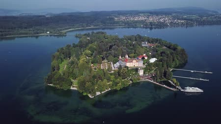 Aerial panorama of Mainau Island on calm morning at Lake Constance (Bodensee), Germany