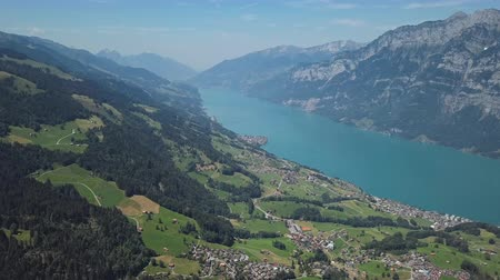 Aerial panorama of Walensee (Lake Walen) from Flumserberg viewpoint, Canton of St. Gallen, Switzerland.