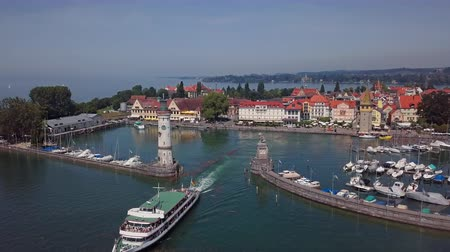 Aerial panorama of Lindau old town on Lake Constance (Bodensee), Germany Vídeos