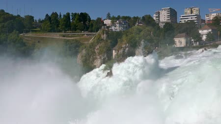Low level view of Rhine Falls, the largest waterfall in Switzerland and Europe.