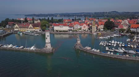 Aerial panorama of Lindau old town on Lake Constance (Bodensee), Germany Stok Video